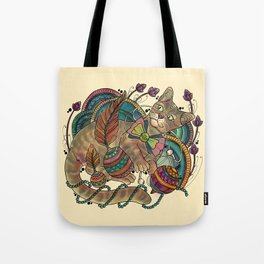 Cat and Apple earbuds Tote Bag