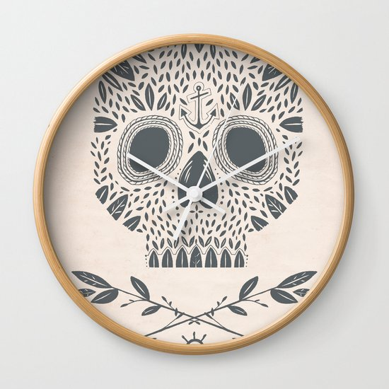 LEAF SKULL Wall Clock