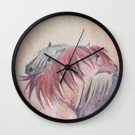 Grooming Shetland Ponies Wall Clock