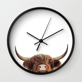 Highland cow, brown cow Wall Clock