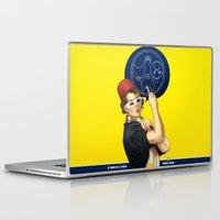 feminism Laptop & iPad Skins featuring Whovian feminism by ElinJ