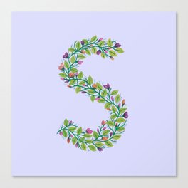 Leafy Letter S Canvas Print