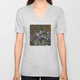 Purple and Green Leaves on Multi-Colored Bark Unisex V-Neck