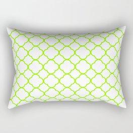 Green, Lime: Quatrefoil Clover Pattern Rectangular Pillow