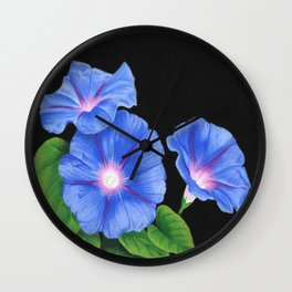Morning Glories On Black Wall Clock