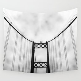 Vintage Monochromatic Black and White Bridge with Clouds Fine Art Print Wall Tapestry