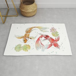 "Watercolor Painting of Picture ""Koi Pond"" Rug"
