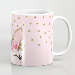 Pink & Gold Floral Unicorn Face Coffee Mug