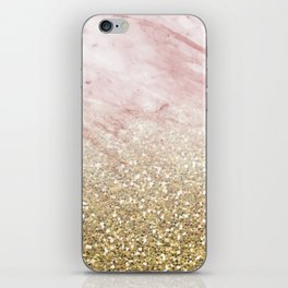 Rose gold marble sunset gradient iPhone Skin
