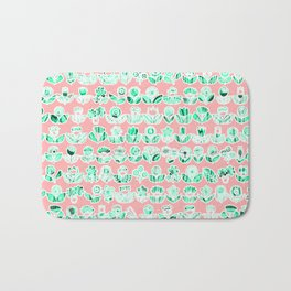 Pink and mint green doodle flowers print, nature print, floral print, blossom Bath Mat