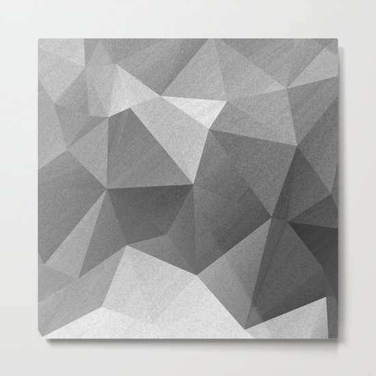 Grey polygonal geometric pattern . Metal Print
