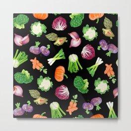 Black veggies pattern | Vegetables illustration pattern Metal Print
