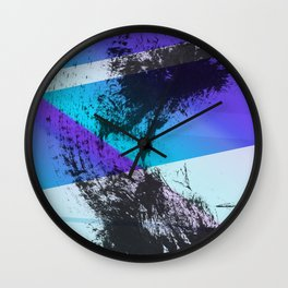 Ink Splat and Shapes Aqua and Purple Wall Clock