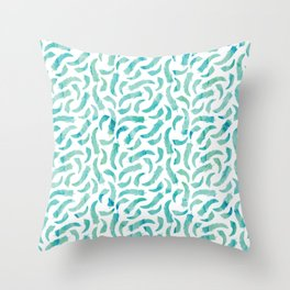 Green Watercolor Feathers Throw Pillow