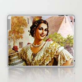 Mexican Calendar Girl in Embroidered Dress by Jesus Helguera Laptop & iPad Skin