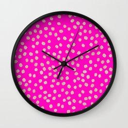 Modern rose gold glitter polka dots neon pink attern Wall Clock