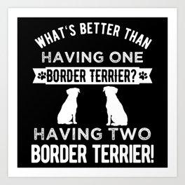 Two Border Terrier Dogs Art Print