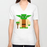 pixel V-neck T-shirts featuring Pixel Yoda by Silvio Ledbetter