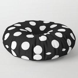 Black - White Polka Dots - Pois Pattern Floor Pillow