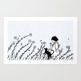 Vintage child in blue, walking in wild flowers Art Print