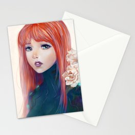 Captain Goldfish - Anime sci-fi girl with red hair portrait Stationery Cards