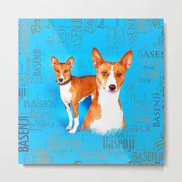 Basenji dogs  with Word cloud Pattern Metal Print