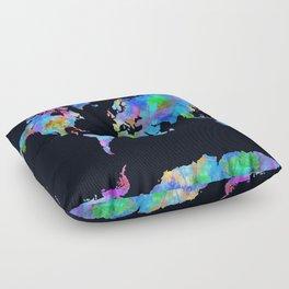 world map watercolor black Floor Pillow