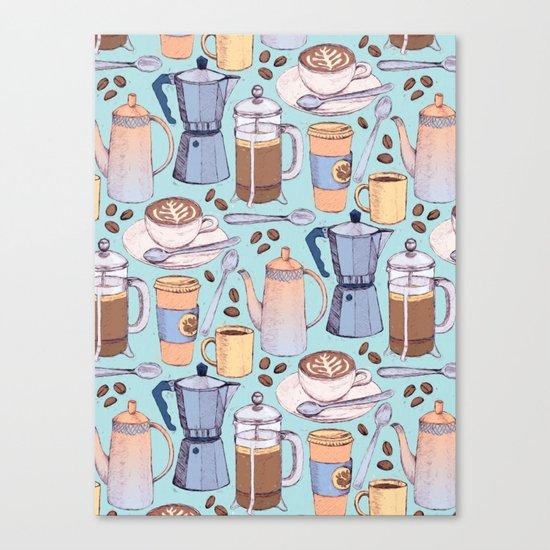 Coffee Love on Blue Canvas Print