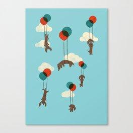 Flight of the Wiener Dogs Canvas Print