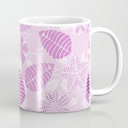 Whimsical Lavender and Purple Floral Leaf Pattern Coffee Mug