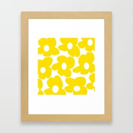 Large Yellow Retro Flowers on White Background #decor #society6 #buyart Framed Art Print