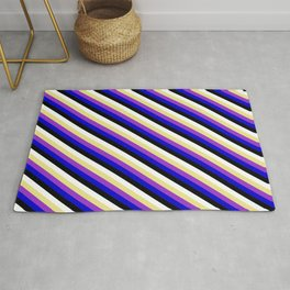 Eye-catching Tan, Dark Orchid, Blue, Black, and White Colored Pattern of Stripes Rug
