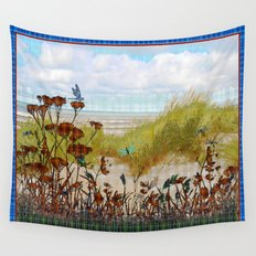 Plaid Beachscape with Dragonflies Wall Tapestry