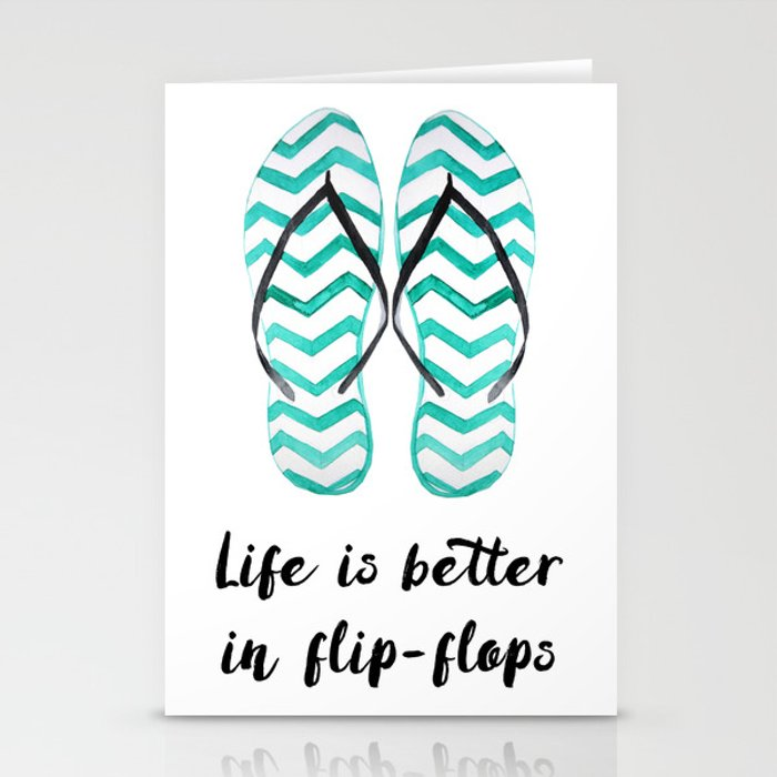 Life Is Better In Flip Flops Fun Summer Quote Stationery Cards By