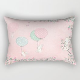 Cute flying Bunny with Balloon and Flower Rabbit Animal on pink floral background Rectangular Pillow
