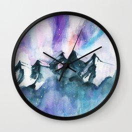 Mountain magic watercolor Wall Clock