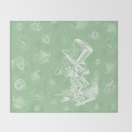 Mad Hatter and Teapots Throw Blanket