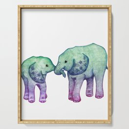Baby Elephant Love - ombre mint & purple Serving Tray