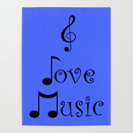 I Love Music - Beatbox Blue Poster