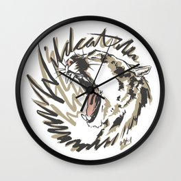 Wildcat Roar - Mountain Lion - Taupe Gray Wall Clock
