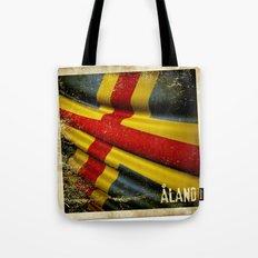 Grunge sticker of Aland Islands flag Tote Bag