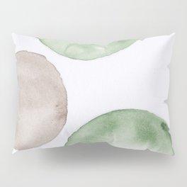 10 |181104 Australian Leaf Green & Brown Earth Orbs | Watercolour Circle Abstract Geometrical Pillow Sham