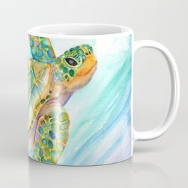 Swimming, Smiling Sea Turtle Coffee Mug
