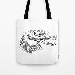 Angry Kiwi Bird Head Cartoon Black and White Tote Bag