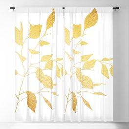 Gold Leaves Blackout Curtain