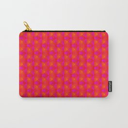 Chaotic pattern of pink rhombuses and orange pyramids. Carry-All Pouch
