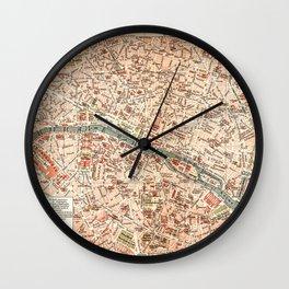 Vintage Map of Paris Wall Clock