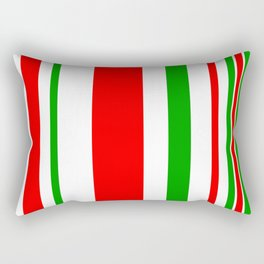 Christmas Stripes of Green Red and White- candy cane colors Rectangular Pillow