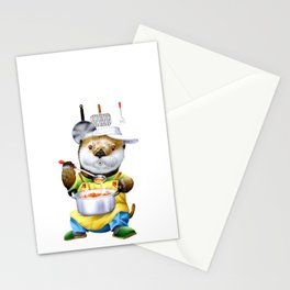 A sea otter cooking Stationery Cards