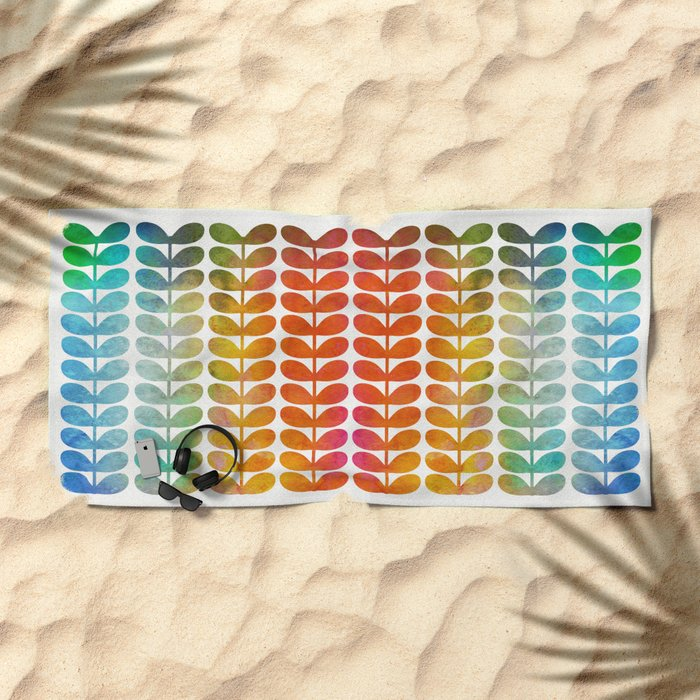 Colorful Leaves from Blue to Orange Beach Towel